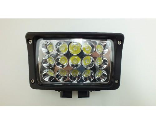 Фара дополнительного освещения LED 45W X004 (15 сверх ярких диодов, мощность одного 3Ватт ) прямоугольная, ближний свет