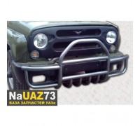 Кенгурин на УАЗ 469 Хантер трубный с защитой бампера и двигателя