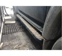 Подножки на УАЗ Патриот силовые с креплением к раме, с возм. подъёма hi-jack с защитой бензобаков