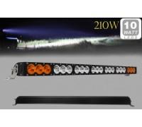 Фара светодиодная CH052 210W 21 диод по 10W (6 диодов ближнего света + 6 диодов дальнего света; габаритные размеры 76*58*103*965мм; цветовая температура 6000K; свет комбинированный янтарный+белый) CH052 210W