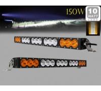 Фара светодиодная CH052B 150W 15 диодов по 10W (6 диодов ближнего света + 6 диодов дальнего света; габаритные размеры 76*58*103*695мм; цветовая температура 6000K; свет комбинированный янтарный+белый) изогнутая CH052B 150W