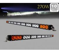 Фара светодиодная CH052B 270W 27 диодов по 10W (6 диодов ближнего света + 12 диодов дальнего света; габаритные размеры 100*72*1230мм; цветовая температура 6000K; свет комбинированный янтарный+белый) изогнутая CH052B 270W