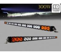 Фара светодиодная CH052B 300W 30 диодов по 10W (6 диодов ближнего света + 12 диодов дальнего света; габаритные размеры 100*72*1370мм; цветовая температура 6000K; свет комбинированный янтарный+белый) изогнутая CH052B 300W
