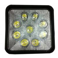 Фара светодиодная CH006 27W 9 диодов по 3W (габаритные размеры 108*138*60мм; цветовая температура 6000K; дальний свет) квадратная, 2 контакта, нижнее крепление, потребляемый ток 12/24V CH006 27W