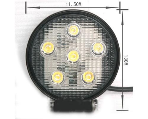 Фара светодиодная CH007 18W 6 диодов по 3W (габаритные размеры 115*130*50мм; цветовая температура 6000K; дальний свет) круглая, 2 контакта, нижнее крепление, потребляемый ток 12/24V CH007 18W