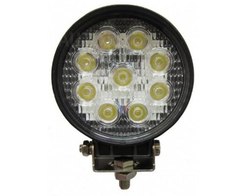Фара светодиодная CH007 27W 9 диодов по 3W (габаритные размеры 115*130*65мм; цветовая температура 6000K; 60° рассеяный свет) круглая, 2 контакта, нижнее крепление, потребляемый ток 12/24V CH007 27W