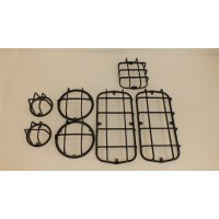 Защита фонарей на УАЗ 469, 452, Буханка, черный (Комплект 7 предметов)